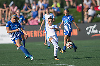 Allston, MA - Saturday August 19, 2017: Rosie White, Camila Martins Pereira during a regular season National Women's Soccer League (NWSL) match between the Boston Breakers and the Orlando Pride at Jordan Field.