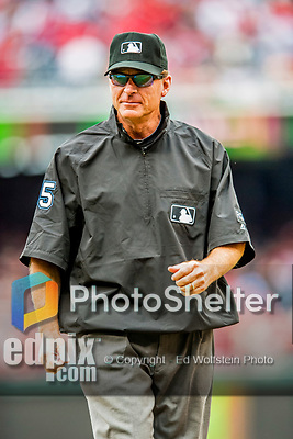 3 April 2017: MLB Umpire Ed Hickox works second base during a game between the Washington Nationals and the Miami Marlins on Opening Day at Nationals Park in Washington, DC. The Nationals defeated the Marlins 4-2 to open the 2017 MLB Season. Mandatory Credit: Ed Wolfstein Photo *** RAW (NEF) Image File Available ***