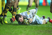 January 7th 2018, Ricoh Arena, Coventry, England;  Aviva Premiership rugby, Wasps versus Saracens;   Ben Spencer scores a try for Saracens in the 78th minute of the Aviva Premiership (Round 13) match between Wasps and Saracens rfc at the Ricoh Stadium