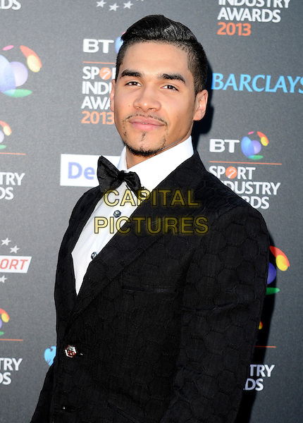 Louis Smith.Attending the BT Sport Industry Awards at Battersea Evolution, London, England, UK, May 2nd 2013..half length black bow tie facial hair tuxedo tux white shirt goatee beard jacket patterned  facial hair .CAP/PP/GM.©Gary Mitchell/PP/Capital Pictures