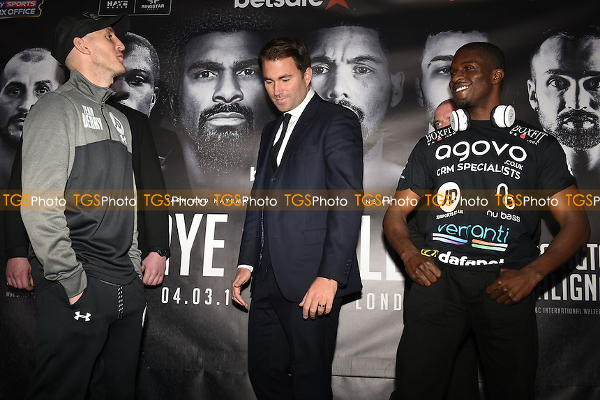 Derry Mathews (L), Eddie Hearn (C) and Ohara Davies during a Matchroom Boxing Press Conference at The O2 on 2nd March 2017