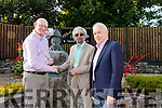Lionel McCarthy (Nephew Sean McCarthy) presenting the 2019 Inaugural Sean McCarthy Life time Achievement award to Mickey MacConnell with Jimmy Deenihan at The Sean McCarthy Memorial Weekend Festival in Finuge.