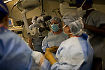 Dr. James Brandt, of Sacramento, prepares to operate on a patient suffering from glaucoma on the ORBIS Flying Eye Hospital on Wednesday, April 16, 2008. Kevin German /  kevin@kevingerman.com..ORBIS Flying Eye Hospital brought doctors, nurses and specialists from all over the world to Ho Chi Minh City, Vietnam from April 7-18, 2008.  The ORBIS program contributed to the efforts of Ho Chi Minh City Eye Hospital in fighting avoidable blindness by educating local ophthalmologists to diagnose and manage pediatric blindness, retinal disease, oculoplastics, and blindness due to glaucoma..