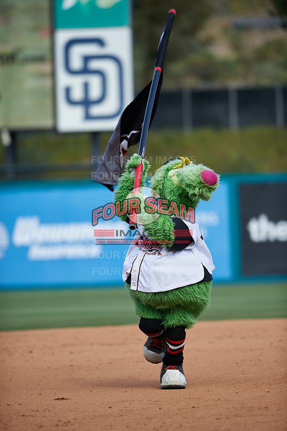 Lake Elsinore Storm mascot Thunder during a California League game against the Inland Empire 66ers on April 14, 2019 at The Diamond in Lake Elsinore, California. Lake Elsinore defeated Inland Empire 5-3. (Zachary Lucy/Four Seam Images)