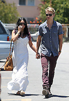 Happy family: Vanessa Hudgens seen going to church with boyfriend Austin Butler and his_mom in Studio City on Sunday. Vanessa wore a tassled maxi dress and a brown suede bag. Los Angeles, California on 24.06.2012. NOTICE: Vanessa is biting her finger nails..Credit: Correa/face to face.. /MediaPunch Inc. ***FOR USA ONLY*** ***Online Only for USA Weekly Print Magazines*** *NORTEPHOTO*<br />