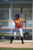 Baltimore Orioles Garrett Copeland (58) at bat during a minor league Spring Training game against the Minnesota Twins on March 17, 2017 at the Buck O'Neil Baseball Complex in Sarasota, Florida.  (Mike Janes/Four Seam Images)