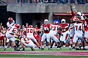 26 September 2009: Louisiana-Lafayette kicker Tyler Albrecht misses on a field goal attempt in the first quarter against Nebraska at Memorial Stadium, Lincoln, Nebraska. Nebraska defeats Louisiana Lafayette 55 to 0.