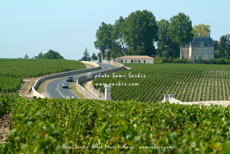 Road in between vineyards, Haute Medoc, Gironde, Bordeaux, France.
