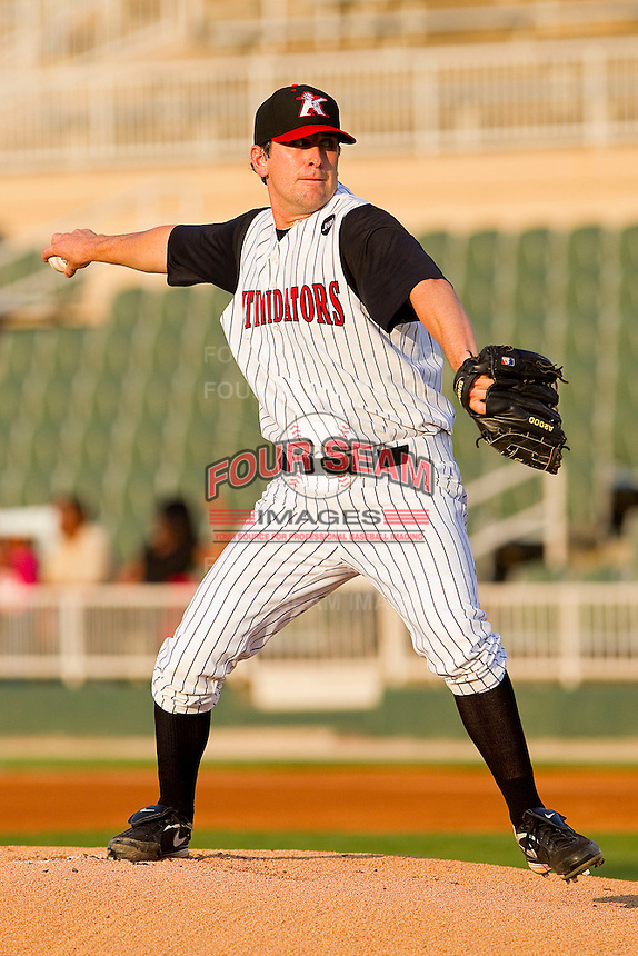 Starting pitcher Paul Burnside #43 of the Kannapolis Intimidators in action against the Delmarva Shorebirds at Fieldcrest Cannon Stadium on May 20, 2011 in Kannapolis, North Carolina.   Photo by Brian Westerholt / Four Seam Images