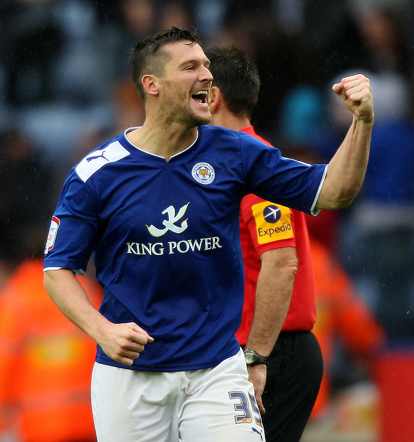 Leicester City's David Nugent celebrates scoring his  third goal ..Football - npower Football League Championship - Leicester City v Hull City - Sunday 23rd September 2012 - King Power Stadium - Leicester..