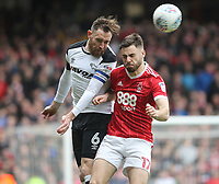 Nottingham Forest's Ben Brereton in action with Derby County's Richard Keogh<br /> <br /> Photographer Mick Walker/CameraSport<br /> <br /> The EFL Sky Bet Championship - Nottingham Forest v Derby County - Sunday 11th March 2018 - The City Ground - Nottingham<br /> <br /> World Copyright &copy; 2018 CameraSport. All rights reserved. 43 Linden Ave. Countesthorpe. Leicester. England. LE8 5PG - Tel: +44 (0) 116 277 4147 - admin@camerasport.com - www.camerasport.com
