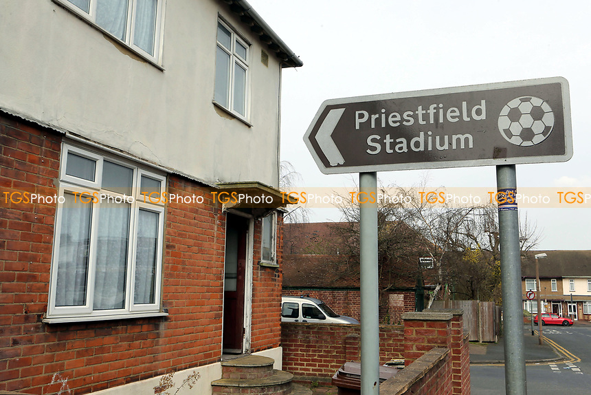Road sign providing directions to Gillingham FC during Gillingham vs Scunthorpe United, Sky Bet EFL League 1 Football at the MEMS Priestfield Stadium on 11th March 2017