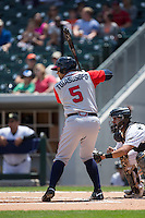 Matt Tuiasosopo (5) of the Gwinnett Braves at bat against the Charlotte Knights at BB&T BallPark on May 22, 2016 in Charlotte, North Carolina.  The Knights defeated the Braves 9-8 in 11 innings.  (Brian Westerholt/Four Seam Images)
