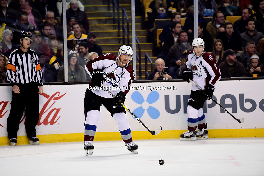 Thursday, December 8, 2016: Colorado Avalanche defenseman Francois Beauchemin (32) passes the puck during the National Hockey League game between the Colorado Avalanche and the Boston Bruins held at TD Garden, in Boston, Mass. The Avalanche defeat the Bruins 4-2 in regulation time. Eric Canha/CSM