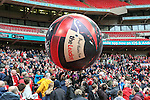 LONDON, ENGLAND - MARCH 29: Wrexham fans with a large inflatable ball before the FA Carlsberg Trophy Final 2015 at Wembley Stadium on March 29, 2054 in London, England. (Photo by Dacid Horn/EAP)