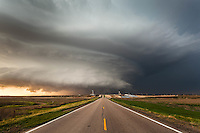 A Highway Leads to a Mothership Supercell Thunderstorm in Leoti, KS, May 21, 2016