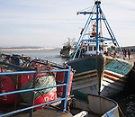 Fishing trawler boats in the harbour, Essaouira, Morocco