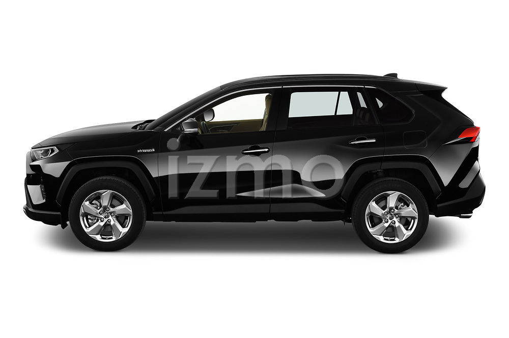 Car Driver side profile view of a 2019 Toyota RAV4 Premium-hybrid 5 Door SUV Side View