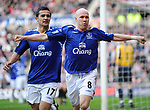 Everton's Andy Johnson celebrates his goal with Tim Cahill. during the Premier League match at the Stadium of Light, Sunderland. Picture date 9th March 2008. Picture credit should read: Richard Lee/Sportimage