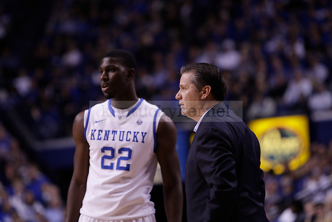 Freshman Forward Alex Poythress receives additional coaching from Coach John Calipari during the second half of the University of Kentucky vs. Northwood Basketball exhibition game at Rupp Arean in Lexington, Ky., on, {November} {1}, {2012}. Photo by Jared Glover | Staff