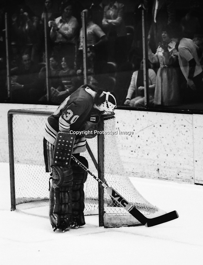 St. Louis Blues goalie after goal, Jacques Caron .<br />