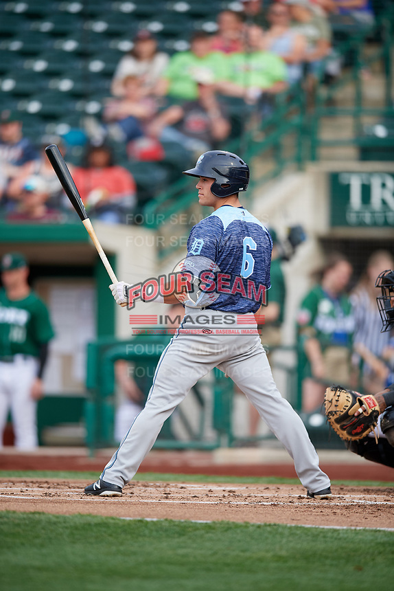 West Michigan Whitecaps catcher Brady Policelli (6) at bat during a game against the Fort Wayne TinCaps on May 17, 2018 at Parkview Field in Fort Wayne, Indiana.  Fort Wayne defeated West Michigan 7-3.  (Mike Janes/Four Seam Images)