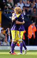 Pictured L-R: Pablo Hernandez of Swansea celebrating his goal with team mate Jose Canas.<br />