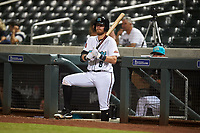 Salt River Rafters Seth Beer (8), of the Arizona Diamondbacks organization, waits his turn to bat during an Arizona Fall League game against the Mesa Solar Sox on September 19, 2019 at Salt River Fields at Talking Stick in Scottsdale, Arizona. Salt River defeated Mesa 4-1. (Zachary Lucy/Four Seam Images)
