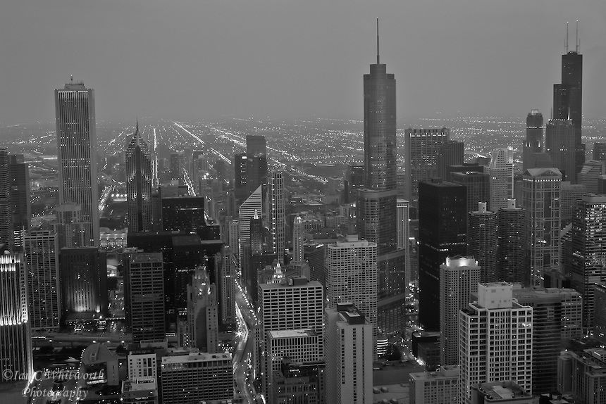 A view of the Chicago Skyline at Night in B&W