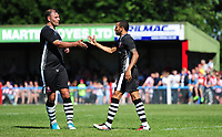 Lincoln City's Nathan Arnold, right, celebrates scoring his sides fourth goal with team-mate Matt Rhead<br /> <br /> Photographer Chris Vaughan/CameraSport<br /> <br /> Football - Pre-Season Friendly - Lincoln United v Lincoln City - Saturday 8th July 2017 - Sun Hat Villas Stadium - Lincoln<br /> <br /> World Copyright &copy; 2017 CameraSport. All rights reserved. 43 Linden Ave. Countesthorpe. Leicester. England. LE8 5PG - Tel: +44 (0) 116 277 4147 - admin@camerasport.com - www.camerasport.com