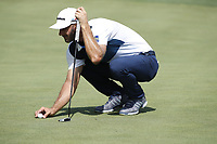 Dustin Johnson (USA) lines up a putt on the 9th hole during the first round of the 100th PGA Championship at Bellerive Country Club, St. Louis, Missouri, USA. 8/9/2018.<br /> Picture: Golffile.ie | Brian Spurlock<br /> <br /> All photo usage must carry mandatory copyright credit (© Golffile | Brian Spurlock)