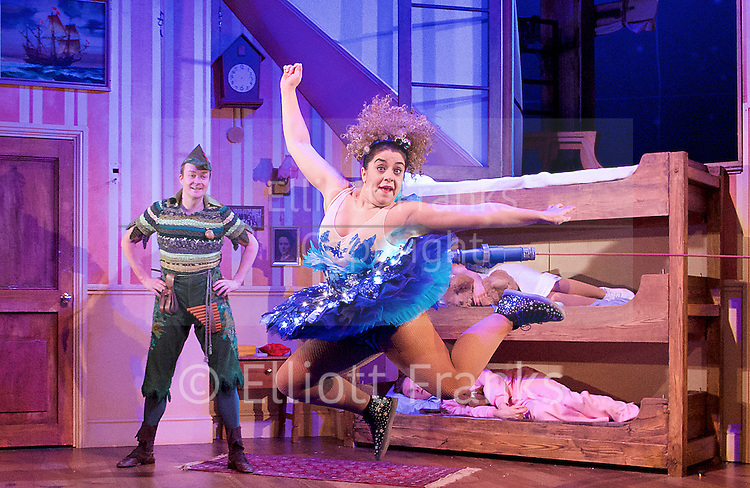 Peter Pan Goes Wrong <br /> at the Apollo Theatre, London, Great Britain <br /> press photocall <br /> 8th December 2015 <br /> <br /> directed by Adam Meggido<br /> <br /> The original cast of the West End's hit comedy The Play That Goes Wrong return to the stage this Christmas in J.M. Barrie's classic Peter Pan.<br /> <br /> <br /> Peter Pan and Tinkerbell <br /> <br /> Henry Lewis<br /> Jonathan Sayer<br /> Henry Shields<br /> Nancy Wallinger<br /> Charlie Russell<br /> Greg Tannahill<br /> Dave Hearn<br /> Tom Edden<br /> Chris Leask<br /> Ellie Morris<br /> Rosie Abraham<br /> Fred Gray<br /> <br /> Photograph by Elliott Franks <br /> Image licensed to Elliott Franks Photography Services