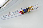 5 December 2014:  Toni Eggert and Sascha Benecken, sliding for Germany, bank into Curve 10 on their second run, ending the day with a 1st place finish and a combined 2-run time of 1:27.651 in the Men's Doubles Competition at the Viessmann Luge World Cup, at the Olympic Sports Track in Lake Placid, New York, USA. Mandatory Credit: Ed Wolfstein Photo *** RAW (NEF) Image File Available ***