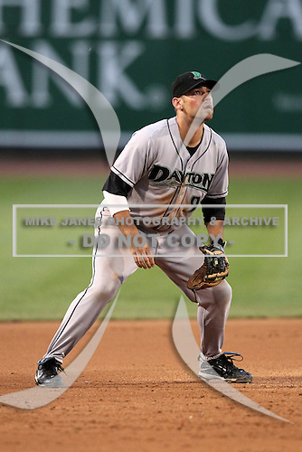 Dayton Dragons third baseman Frank Pfister (9) during a game vs. the Great Lakes Loons at Dow Diamond in Midland, Michigan August 19, 2010.   Great Lakes defeated Dayton 1-0.  Photo By Mike Janes/Four Seam Images