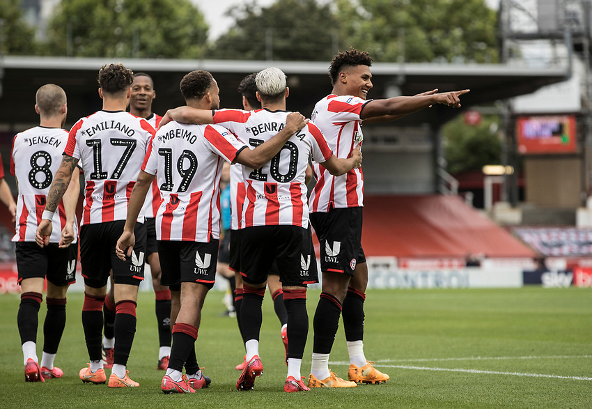 Brentford's Ollie Watkins (right) celebrates scoring his side's first goal with team mates  <br /> <br /> Photographer Andrew Kearns/CameraSport<br /> <br /> The EFL Sky Bet Championship - Brentford v Preston North End - Wednesday 15th July 2020 - Griffin Park - Brentford <br /> <br /> World Copyright © 2020 CameraSport. All rights reserved. 43 Linden Ave. Countesthorpe. Leicester. England. LE8 5PG - Tel: +44 (0) 116 277 4147 - admin@camerasport.com - www.camerasport.com