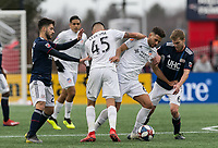 Foxborough, Massachusetts - March 24, 2019: In a Major League Soccer (MLS) match, FC Cincinnati (white) defeated New England Revolution (blue/white), 2-0, at Gillette Stadium.