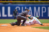 Wade Bailey (3) of the Georgia Tech Yellow Jackets tags out Romy Gonzalez (10) of the Miami Hurricanes as he tries to steal second base during Game One of the 2017 ACC Baseball Championship at Louisville Slugger Field on May 23, 2017 in Louisville, Kentucky.  The Hurricanes walked-off the Yellow Jackets 6-5 in 13 innings. (Brian Westerholt/Four Seam Images)