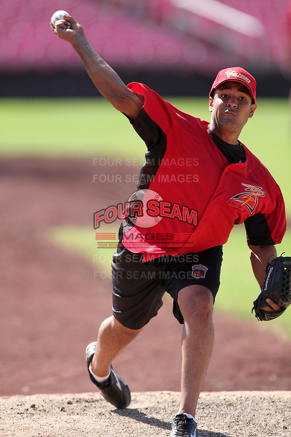Salem-Keizer Volcanoes pitcher Lorenzo Mendoza #31 before a game against the Spokane Indians at Volcanoes Stadium on August 10, 2011 in Salem-Keizer,Oregon. Salem-Keizer defeated Spokane 7-6.(Larry Goren/Four Seam Images)