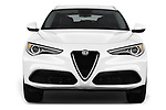 Car photography straight front view of a 2018 Alfa Romeo Stelvio Ti 5 Door SUV