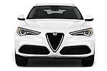 Car photography straight front view of a 2018 Alfa Romeo Stelvio Ti 5 Door SUV