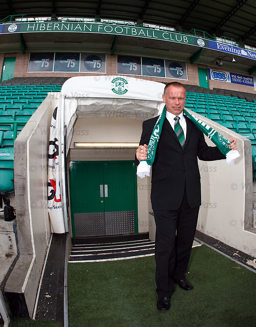 John Hughes walks out at Easter Road after being appointed manager of Hibs