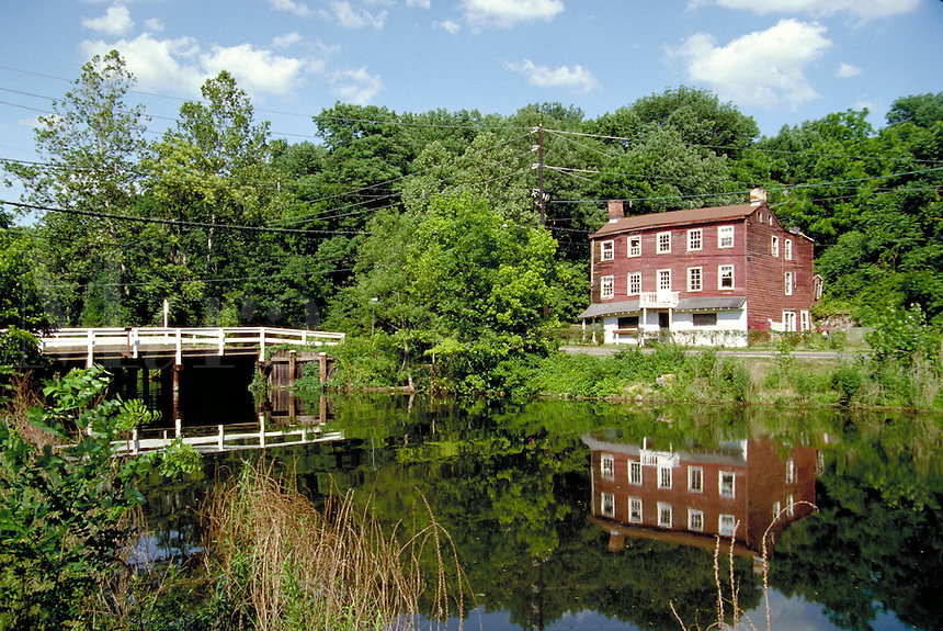 An old, crumbling canal house on the historic Delaware & Raritan Canal in Princeton, New Jersey. waterway, landmark, architecture. Princeton New Jersey.