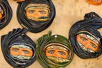 Souvenir hangings of veiled women, Sidi Bou Said, Tunisia