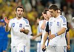 Giorgos Karagounis (10) and Kostas Katsouranis thanking the fans after losing against Sweden at Euro 2008. Greece-Sweden 06102008, Salzburg, Austria