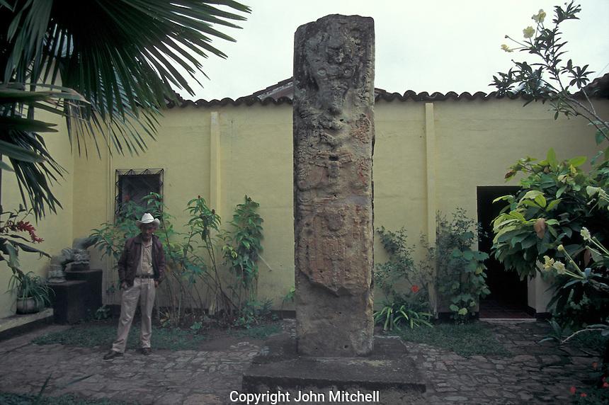 Interior courtyard of the Museo de Arqueologia Maya in the town of Copan Ruinas, Honduras