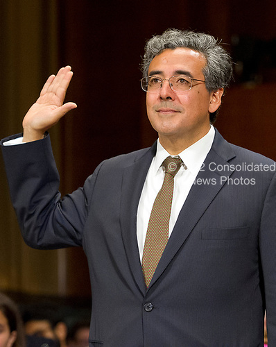Noel J. Francisco is sworn-in to testify before the United States Senate Committee on the Judiciary on his nomination to be Solicitor General of the US on Capitol Hill in Washington, DC on Wednesday, May 10, 2017.<br /> Credit: Ron Sachs / CNP