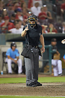 Home plate umpire Brian Walsh makes a strike call during the California League game between the Stockton Ports and the Inland Empire 66ers at San Manuel Stadium on July 6, 2017 in San Bernardino, California. The Ports defeated the 66ers 7-6.  (Brian Westerholt/Four Seam Images)