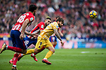 Cristian Portugues Manzanera (R) of Girona FC fights for the ball with Yannick Ferreira Carrasco of Atletico de Madrid during the La Liga 2017-18 match between Atletico de Madrid and Girona FC at Wanda Metropolitano on 20 January 2018 in Madrid, Spain. Photo by Diego Gonzalez / Power Sport Images