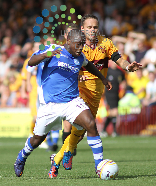 Nigel Hasselbaink and Tom Hateley. Motherwell take on St Johnstone in the SPL at Fir Park Motherwell on the 11th August 2012. Universal News And Sport (Europe) All pictures must be credited to www.unpixs.com. (Office)0844 884 51 22.
