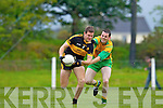 Gneeveguilla's John Paul Brosnan puts pressure on Dr Crokes' Eoin Brosnan in Gneeveguilla last Sunday evening in round 1 of the Garvey's Supervalue County Senior Championship.